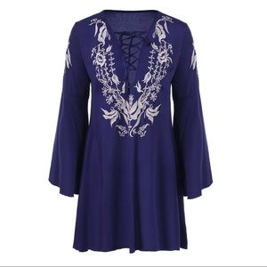 ANGL Embroidery Fit and Flare Bell Sleeve Dress S